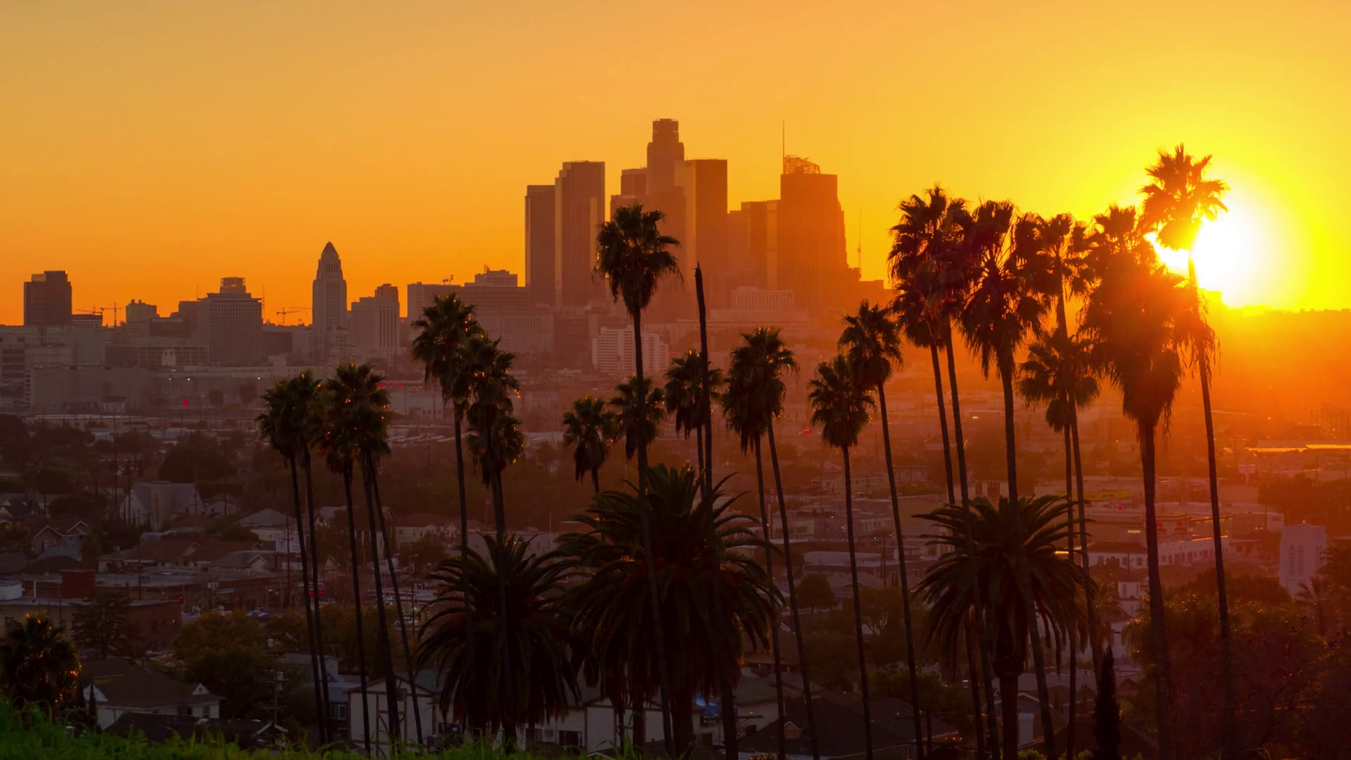 Scenic Sunset To Night Transition Zoom Out From City Of Los